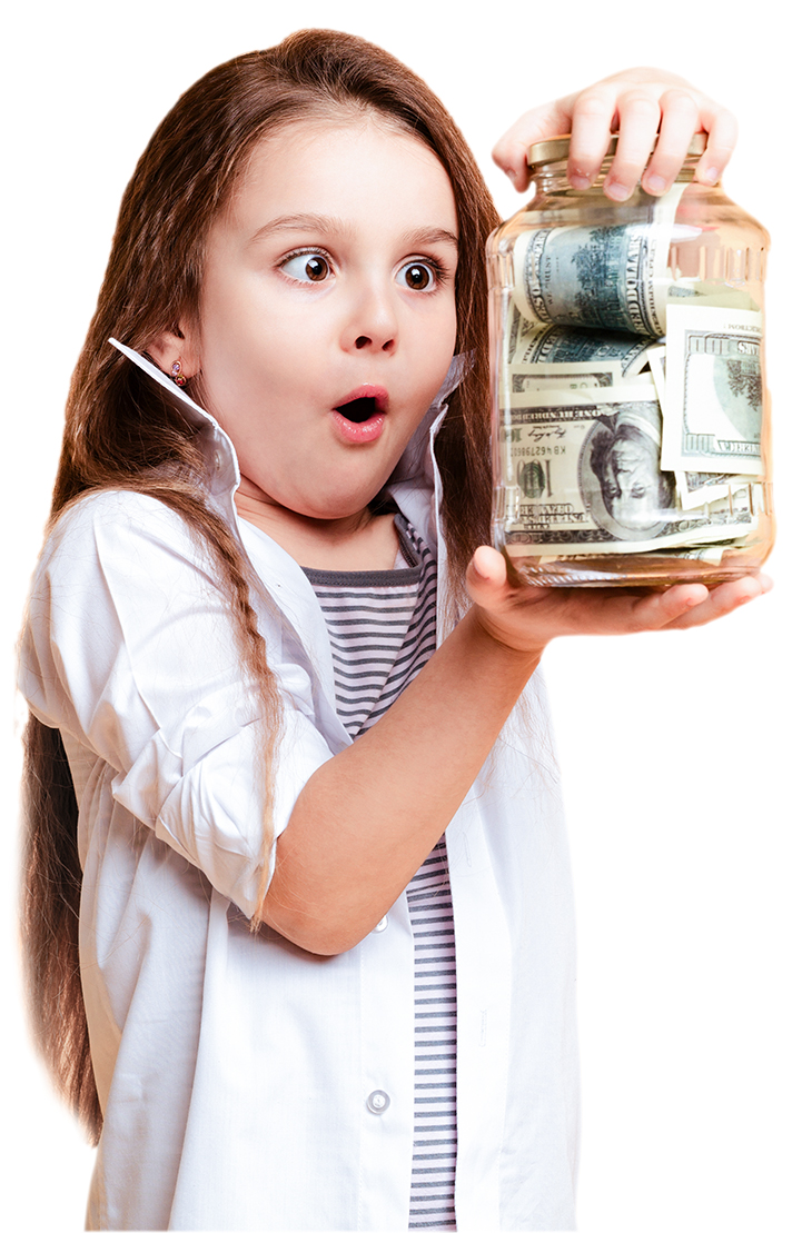 Photo of shocked little girl child standing isolated over yellow background holding jar with money. Looking aside.