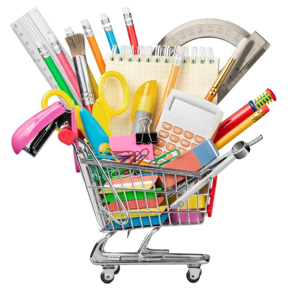 Shopping cart full of school supplies.
