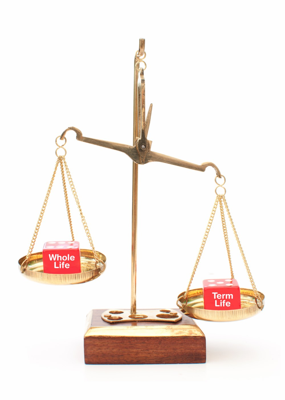 Scale balancing whole life and term life blocks.