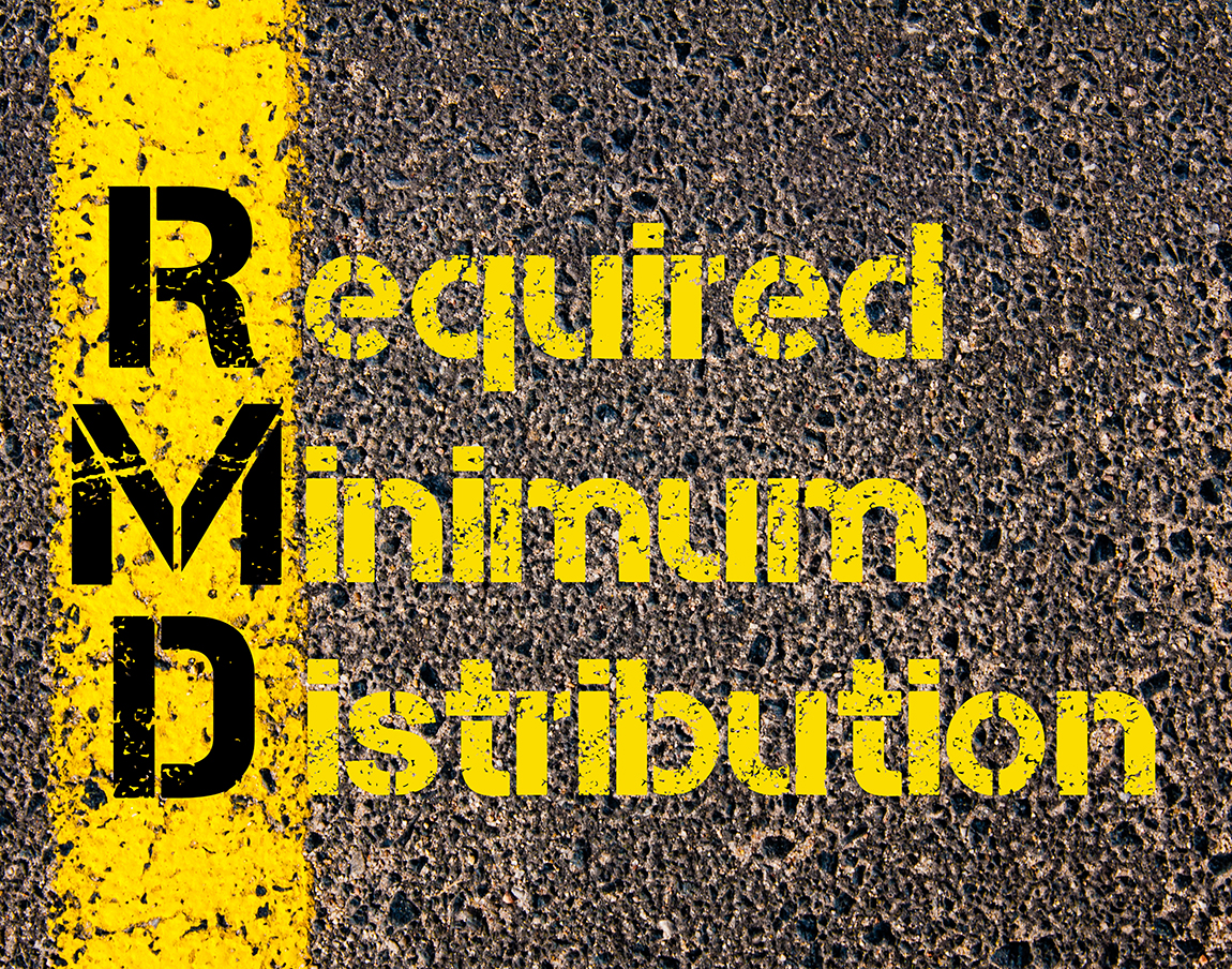 Concept image of Accounting Business Acronym RMD Required Minimum Distribution written over road marking yellow paint line.